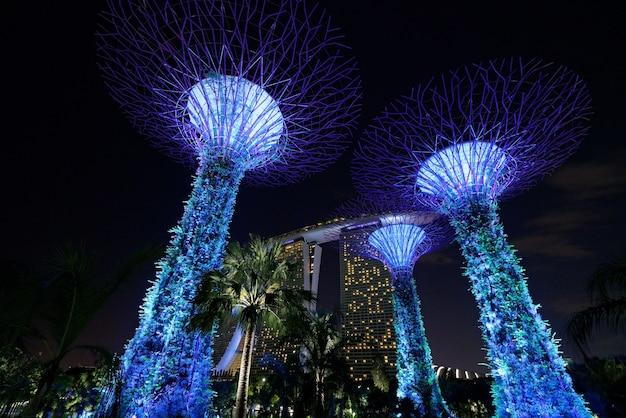 Hermosa foto de los altos edificios arquitectónicos azules de los jardines de singapur junto a la bahía