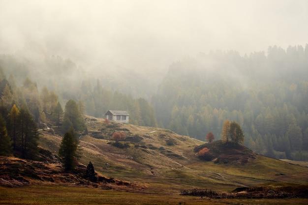 Hermosa foto de una casa en una colina cubierta de hierba cerca de montañas boscosas en la niebla
