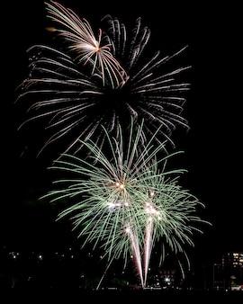 Hermosa foto de coloridos fuegos artificiales en el cielo nocturno durante las vacaciones