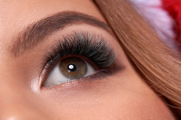 Hermosa foto macro de ojo femenino con pestañas extremadamente largas y maquillaje de delineador negro