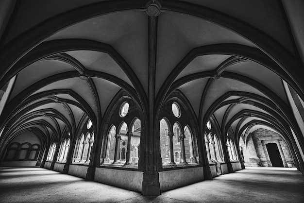 Hermosa foto de un pasillo de fantasía medieval en blanco y negro