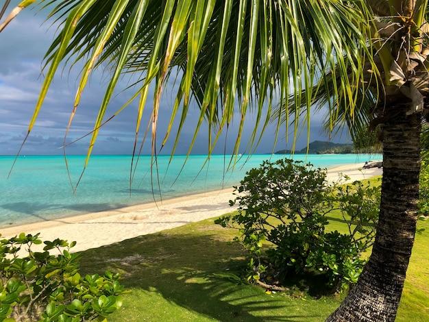 Hermosa foto de una playa tropical turquesa