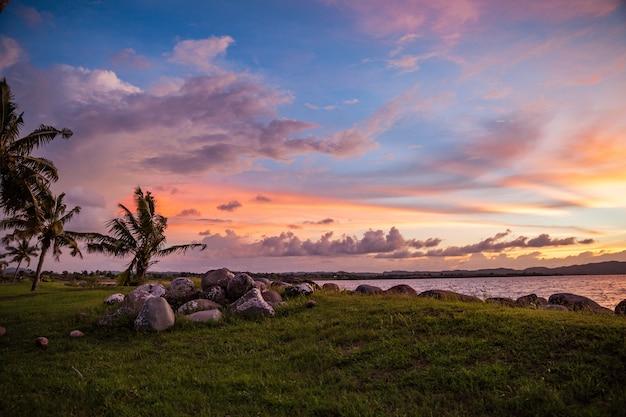 Hermosa foto de una puesta de sol en la playa con césped y palmeras