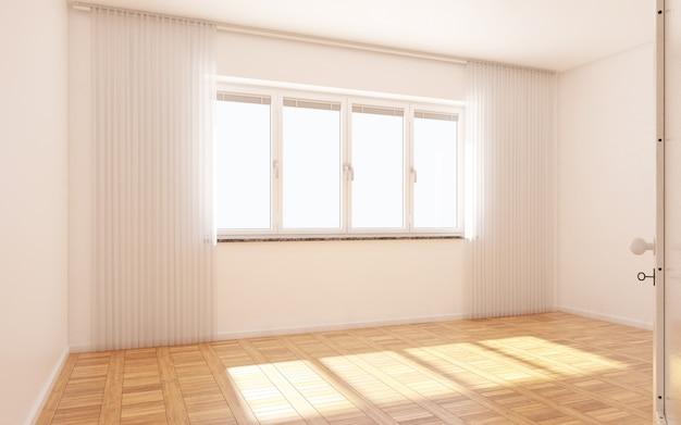 Hermosa habitación blanca y luminosa con luz del sol que pasa a través, decorada con blanco limpio