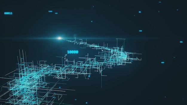 Hermosa ilustración 3d de la red digital global creciendo con números volando. concepto de negocio.
