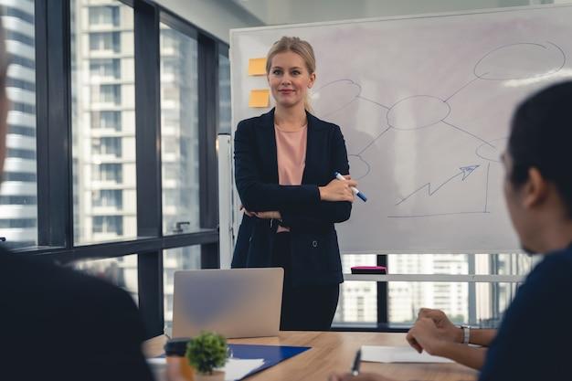 Una hermosa joven empresaria en la sala de reuniones sonríe y discute con su equipo.