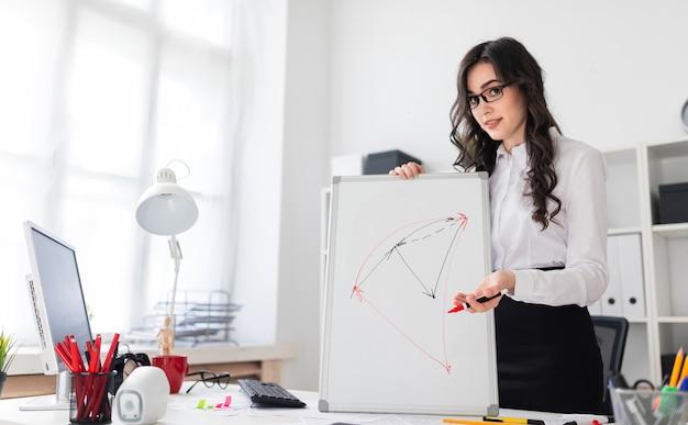 Una hermosa joven se encuentra cerca de un escritorio de oficina y dibuja un marcador magnético en el tablero magnético.