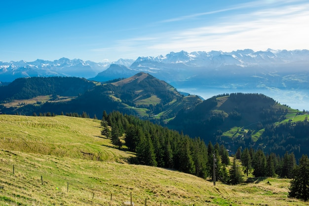 Hermosa montaña suiza en verano