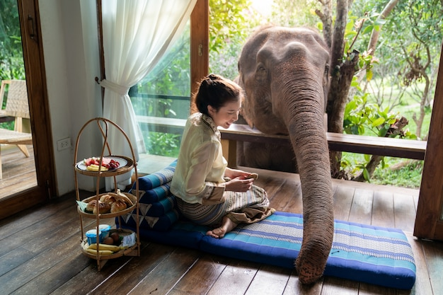 Hermosa mujer de asia sentarse en el balcón de madera y alimentar elefante.