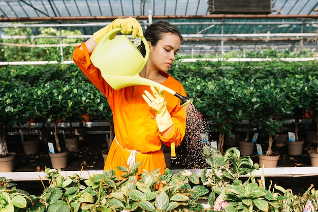 Hermosa mujer cuidando plantas en invernadero