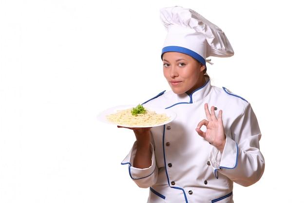 Hermosa mujer en imagen de chef
