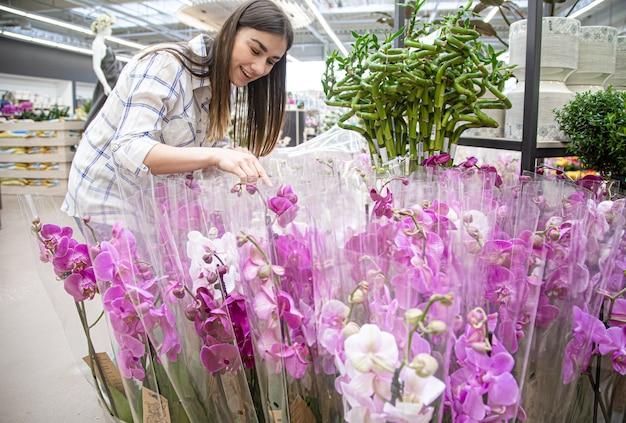 Hermosa mujer joven en una florería y elegir flores. el concepto de jardinería y flores.