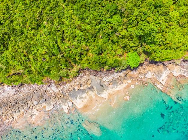 Hermosa naturaleza playa tropical y mar con palmera de coco en la isla paradisíaca