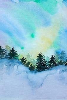Hermosa pared del paisaje de aurora con bosque de abetos