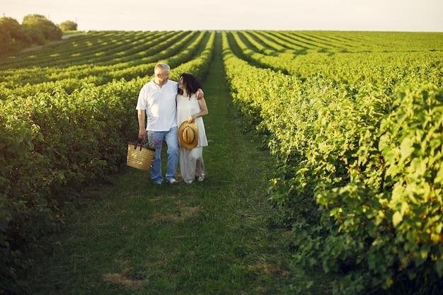 Hermosa pareja adulta pasa tiempo en un campo de verano