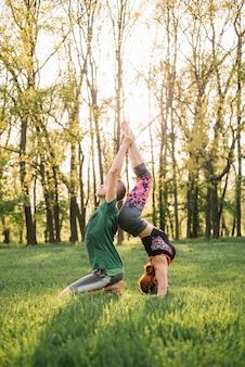 Hermosa pareja haciendo acro yoga en pasto