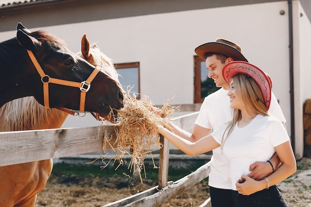 Hermosa pareja pasa tiempo con un caballo.