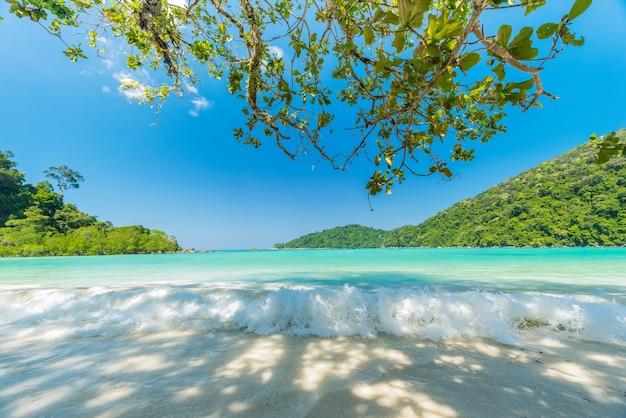 Hermosa pequeña ola y agua salpicada en la playa, situada en la isla de surin, tailandia