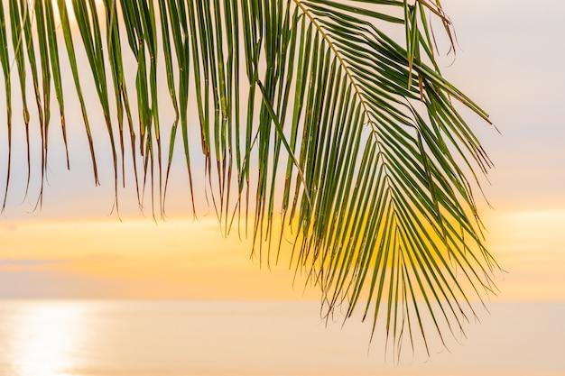 Hermosa playa de mar océano con palmeras al amanecer para vacaciones