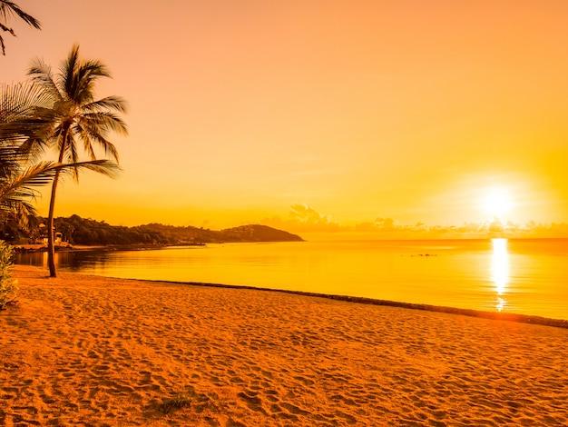 Hermosa playa tropical mar y océano con palmera de coco en el momento de la salida del sol