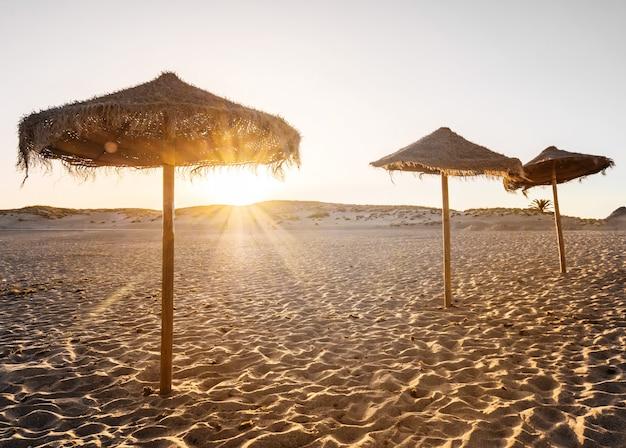Hermosa puesta de sol en la playa con sombrillas