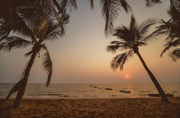 Hermosa puesta de sol en la playa en los trópicos. cielo y océano