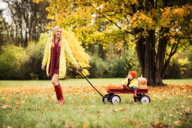Hermosa risa rubia mamá rueda a su bebé en un carro rojo en el parque otoño