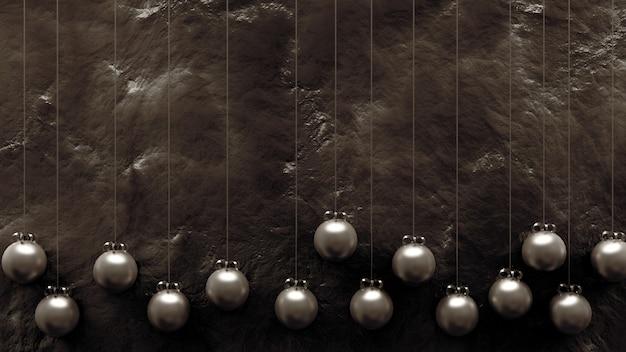 Hermosa textura dorada y juguetes de navidad, bolas.