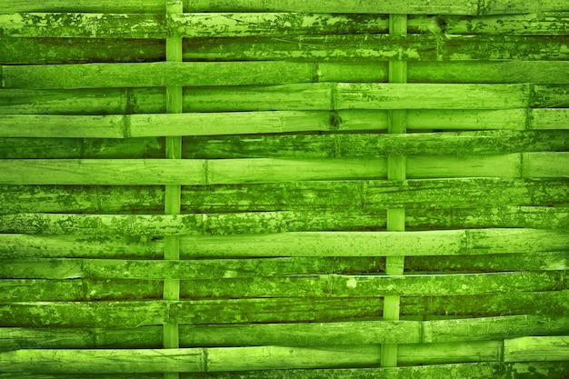 Hermosa textura de pared de cerca de bambú verde para el fondo