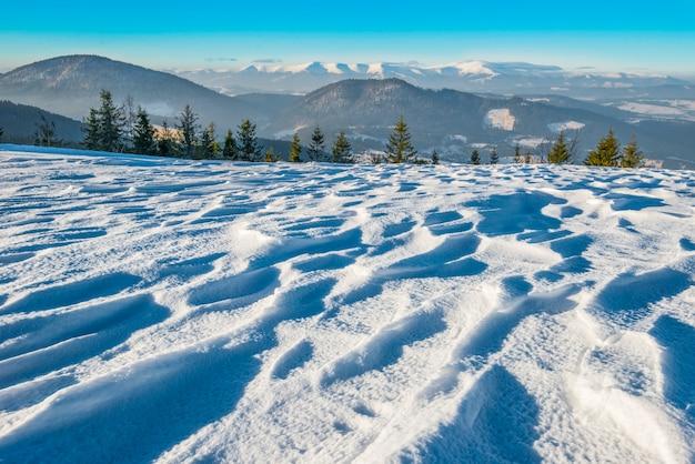 Hermosa vista fascinante de las laderas de las montañas con densos matorrales de árboles y ventisqueros contra el cielo y las nubes blancas en un frío día de invierno