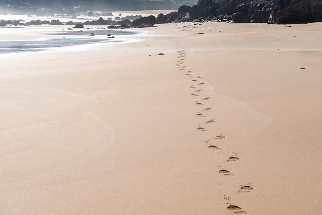 Hermosa vista de las huellas en la arena de la playa cerca de la orilla con rocas en el fondo