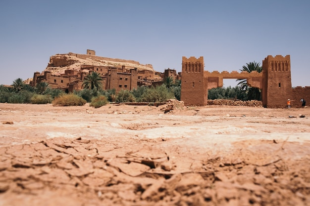 Hermosa vista de la kasbah ait ben haddou aït, marruecos