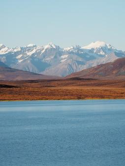 Hermosa vista de un lago y montañas cubiertas de nieve.