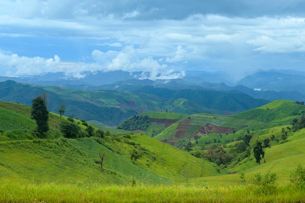Hermosa vista a la montaña verde en temporada de lluvias, clima tropical