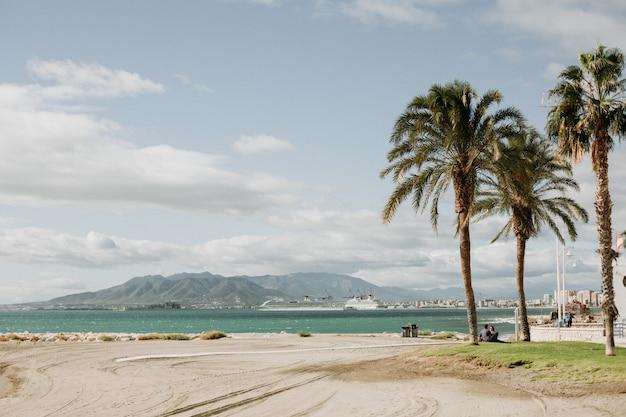 Hermosa vista de una playa de arena tropical con palmeras