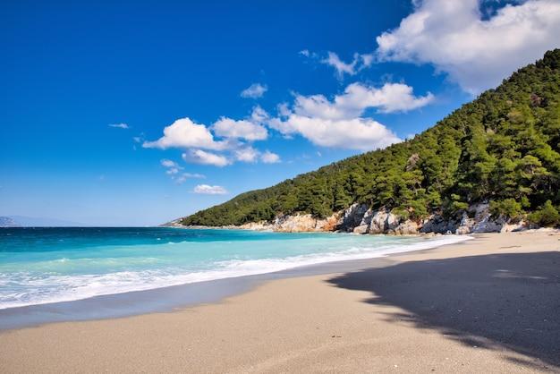 Hermosa vista de una playa de kastani en la isla de skopelos, grecia