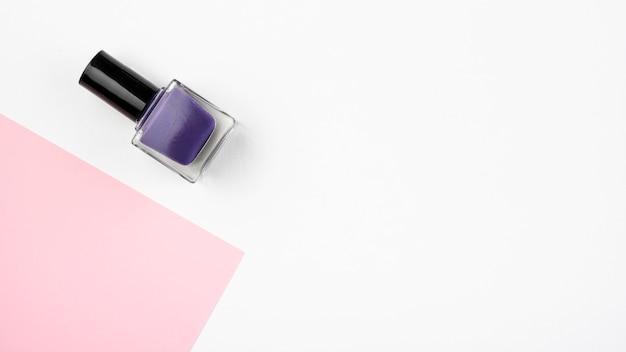 Hermosa vista superior de esmalte de uñas