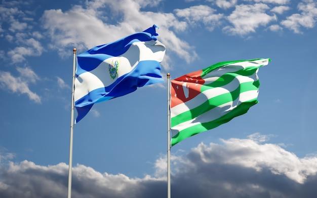 Hermosas banderas del estado nacional de abjasia y el salvador juntos