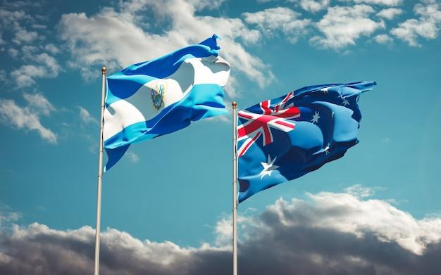 Hermosas banderas del estado nacional de australia y el salvador juntos