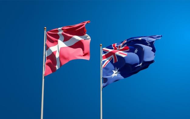 Hermosas banderas del estado nacional de dinamarca y australia juntos