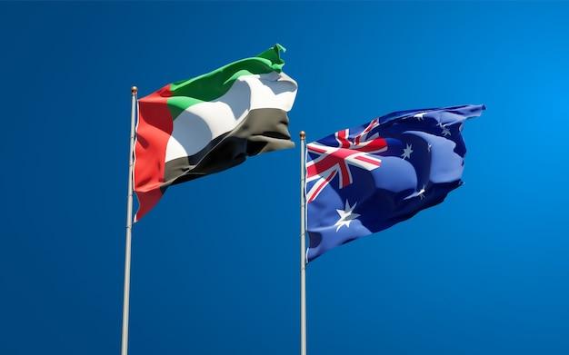 Hermosas banderas del estado nacional de los emiratos árabes unidos, emiratos árabes unidos y australia juntos