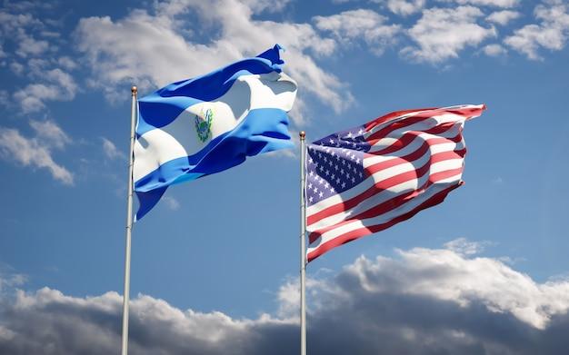 Hermosas banderas del estado nacional de estados unidos y el salvador juntos