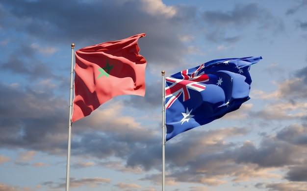 Hermosas banderas del estado nacional de marruecos y australia juntos