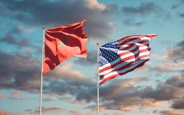 Hermosas banderas del estado nacional de marruecos y estados unidos juntos