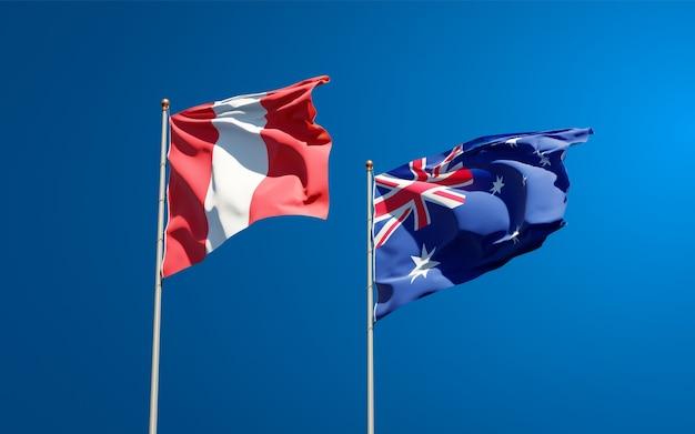 Hermosas banderas del estado nacional de perú y australia juntos
