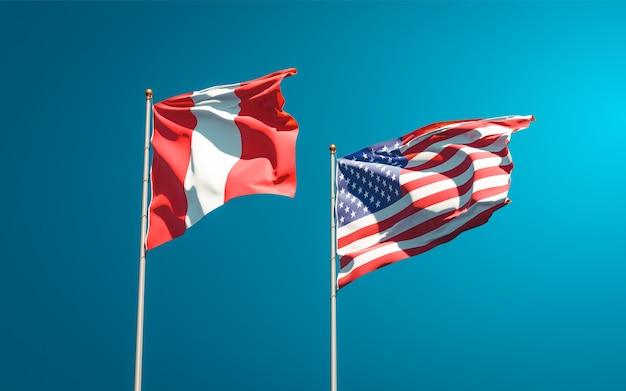 Hermosas banderas del estado nacional de perú y estados unidos juntos