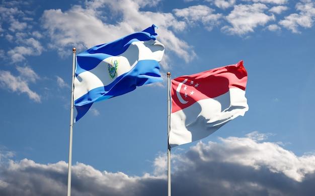 Hermosas banderas del estado nacional de singapur y el salvador