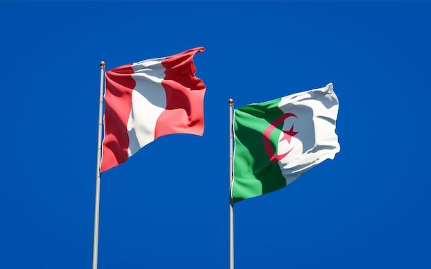 Hermosas banderas nacionales contra el cielo