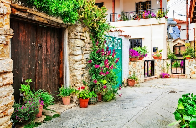 Hermosas calles florales de pueblos traditioanl de la isla de chipre