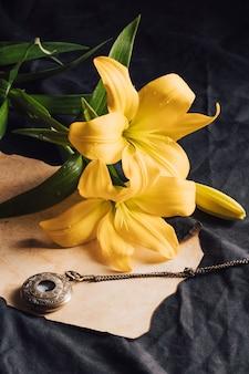 Hermosas flores amarillas frescas en rocío cerca de papel artesanal y reloj de bolsillo antiguo